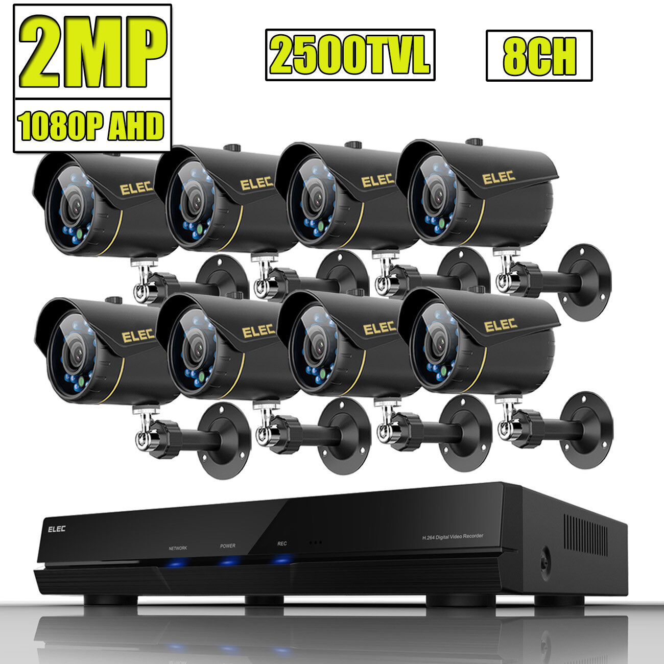 ELEC 8CH 1080N HDMI DVR 1080P AHD 2500TVL CCTV Video Security Camera System 2MP
