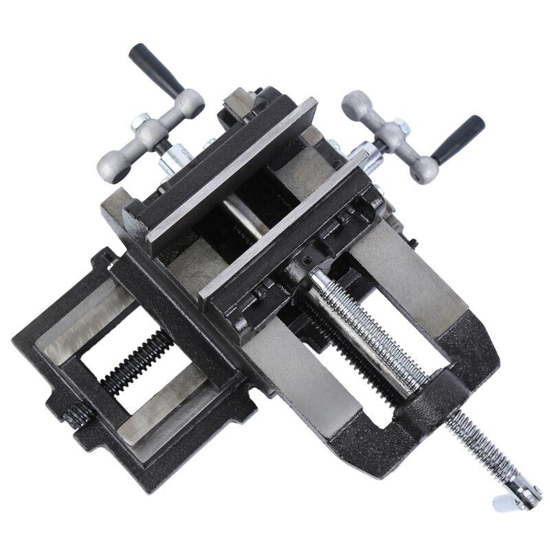 "5"" Cross Drill Press Vise Slide Milling 2 Way Clamp Machine"