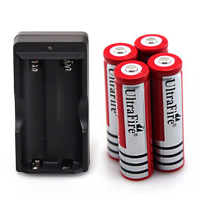 4x UltraFire 4000mAh 18650 Battery 3.7v Li-ion Rechargeable Batteries + Charger