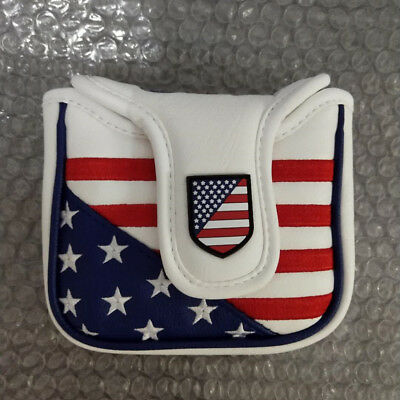 Magnetic Square Mallet Putter Cover USA Flag Headcover for Odyssey Spider Tour