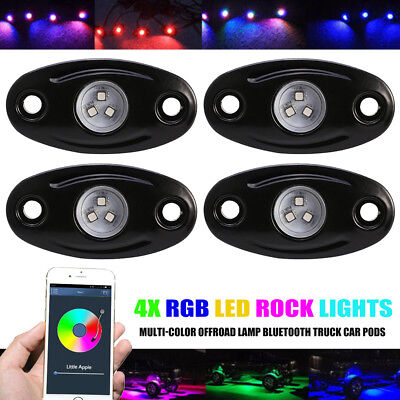 4 Pods CREE LED Rock Lights Kit for Jeep Off Road Car Truck Boat Accessories