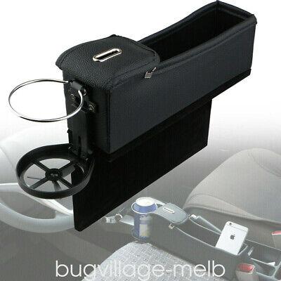 PU Leather Catcher Organizer Caddy Car Seat Gap Filler Pocket Storage Cup Holder