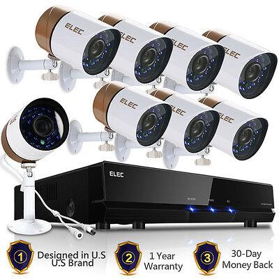 ELEC 8CH 1500TVL 1080P Lite HDMI CCTV DVR In/Outdoor Home Security Camera System