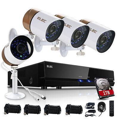 ELEC 8CH 960H 1500TVL DVR Wired CCTV IR-CUT Home Security Camera System 1TB HDD