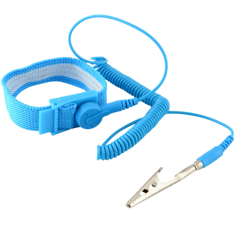 Anti-Static Wrist Band ESD Grounding Strap Prevents Static Build Up, Blue