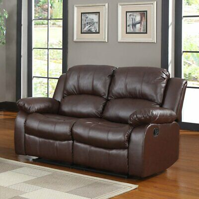 Classic Recliner Sofa PU Leather Reclining Love Seat Home Theatre Sofa, Brown