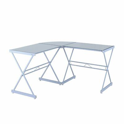 L-shape Computer Desk With Tempered Glass Top White Metal Frame