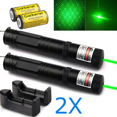 2Sets Military Powerful 532nm Green Laser Pointer Pen Visible Beam 16340 Lazer