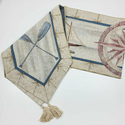 Wave Reviews Sailing Nautical Sailboat Oars Compass Tapestry Table Runner