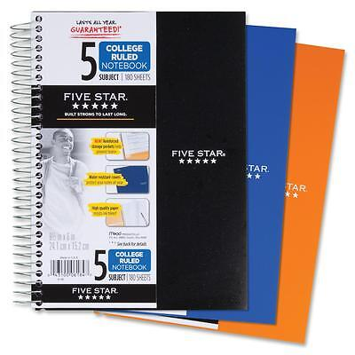 Acco Notebook Wirebound 5-subject 180 Sheets 9-12x6 Assorted 06184