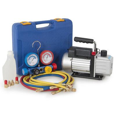 Combo 4cfm 13hp Air Vacuum Pump Hvac Ac Refrigeration Kit Ac Manifold Gauge Hd