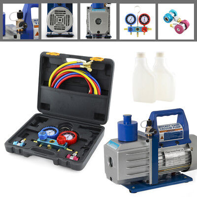 Manifold Set R134a Ac Diagnostic Auto Car Tester 12hp 5cfm Vacuum Pump Set