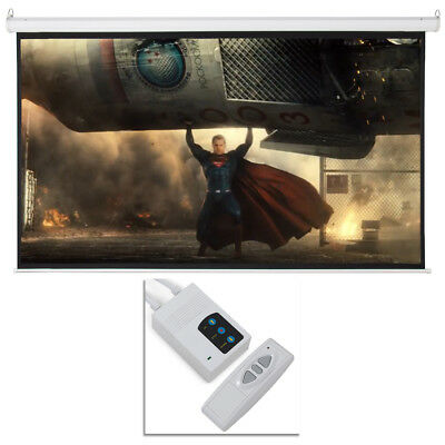 100 Electric Motorized Remote Projection Screen Hd Movie Projector White 169