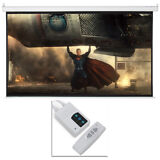 """100"""" Electric Motorized Remote Projection Screen HD Movie Projector White 16:9"""