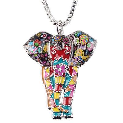 Enamel Alloy Chain African jungle Elephant Necklace Choker Women Pendant Gifts