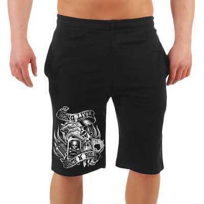 Männer Kurze Hose Shorts Long Live ROCKN ROLL halblange Rockabilly Cash Custom