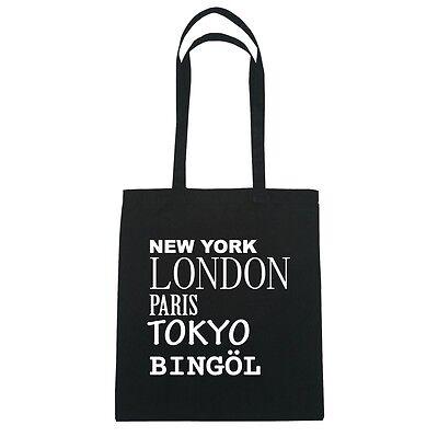 New York, London, Paris, Tokyo BINGÖL  - Jutebeutel Tasche - Farbe: schwarz