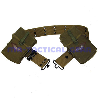 Used,   VIETNAM WAR WWII US ARMY SOLDIER S BELT AND M14 AMMO POUCH MAGAZINE BAG SET for sale  Shipping to Canada