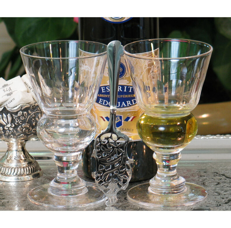 2 Blown Pontarlier Absinthe Glasses & 2 Absinthe Spoons Set