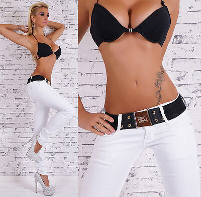 Sexy Women's Low Cut Jeans Hipster Skinny Jeans White Pants  Belt ...