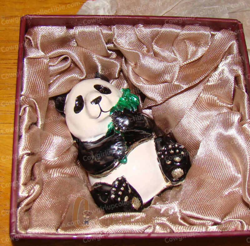 PANDA Trinket Box (4181) Pewter Baked Enamel Finish, Australian Crystals