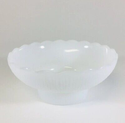 Milk Glass Footed Pedestal Bowl With Scalloped Rim Edge Vintage Footed Pedestal Bowl