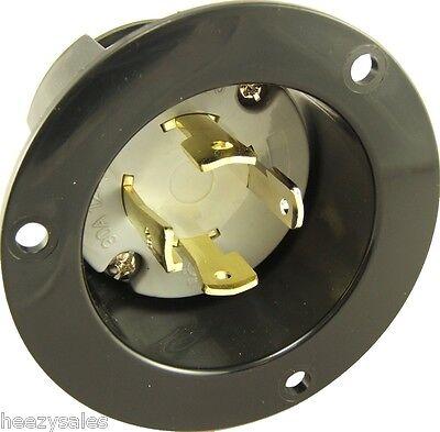 Black L14-30 Flanged Power Inlet Generator Plug 250 Volt Receptacle Outlet 30A