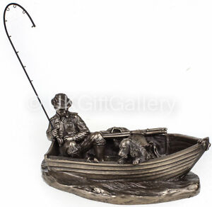 Fly Fishing Cold Cast Bronze Angler Sculpture Angling Ornament by Genesis NEW