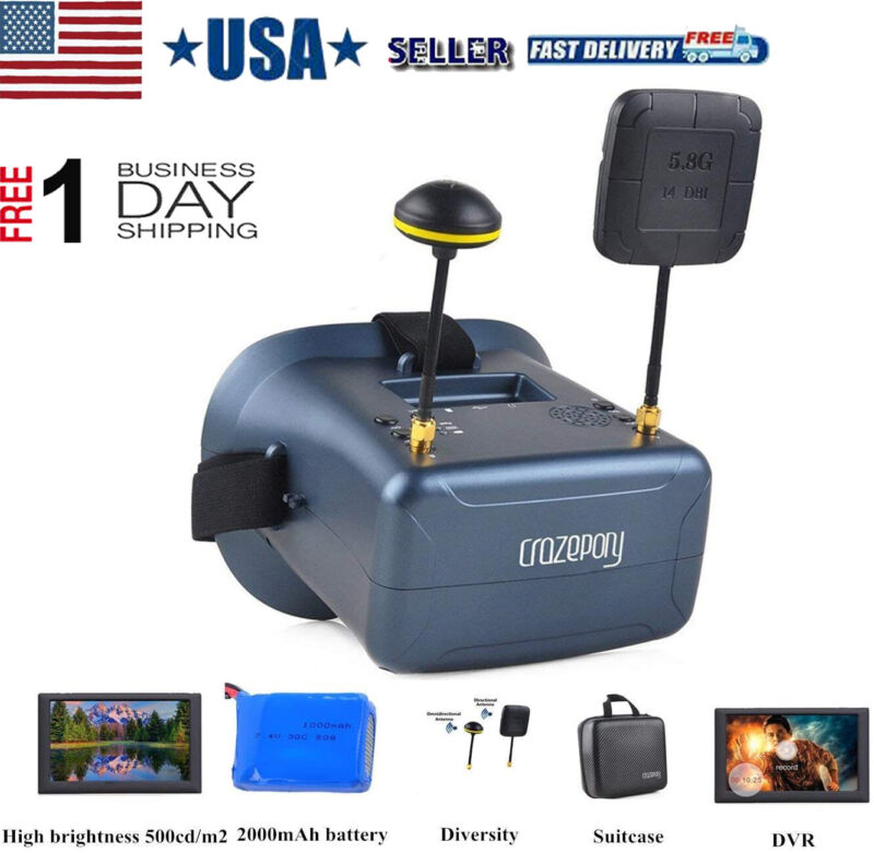 FPV Goggles VR008 Pro FPV Headset Glasses with DVR 4.3 Inch 5.8G 40CH + Case