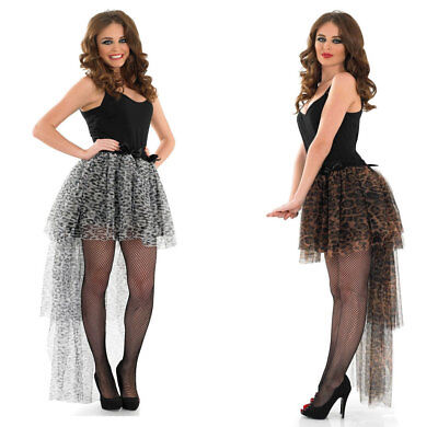 Ladies Snow Leopard Long Tail Back Waterfall Tutu Layer Frill Skirt  Rouge New ()