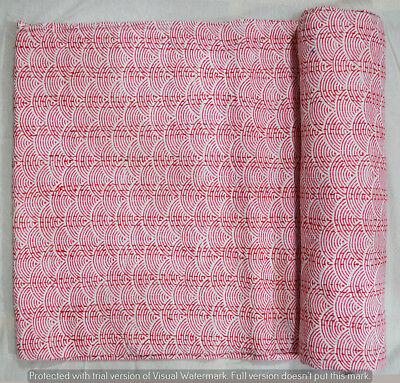 Hand Block Print Baumwolle indische Quilt Kantha Königin Bettdecke Tagesdecke ()
