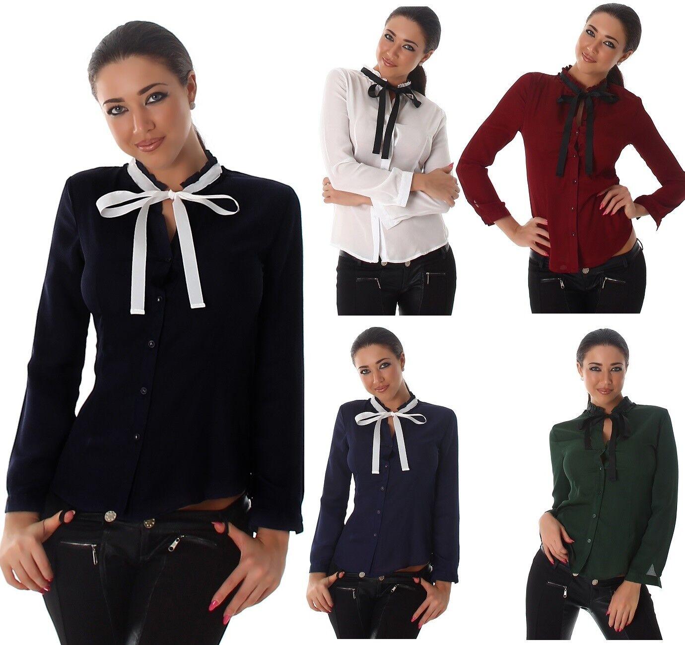Voyelles Damen Bluse Hemd langarm mit Schleife