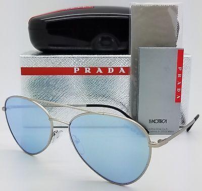 740aa915dc0 PRADA SPORT Linea Rossa PS50SS 1AP5Q0 Matte Silver Blue Slvr Mirror  Sunglasses