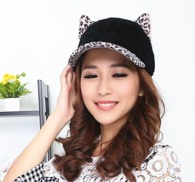 black cat ear baseball cap ebay leopard print cute devil horn adjustable hat
