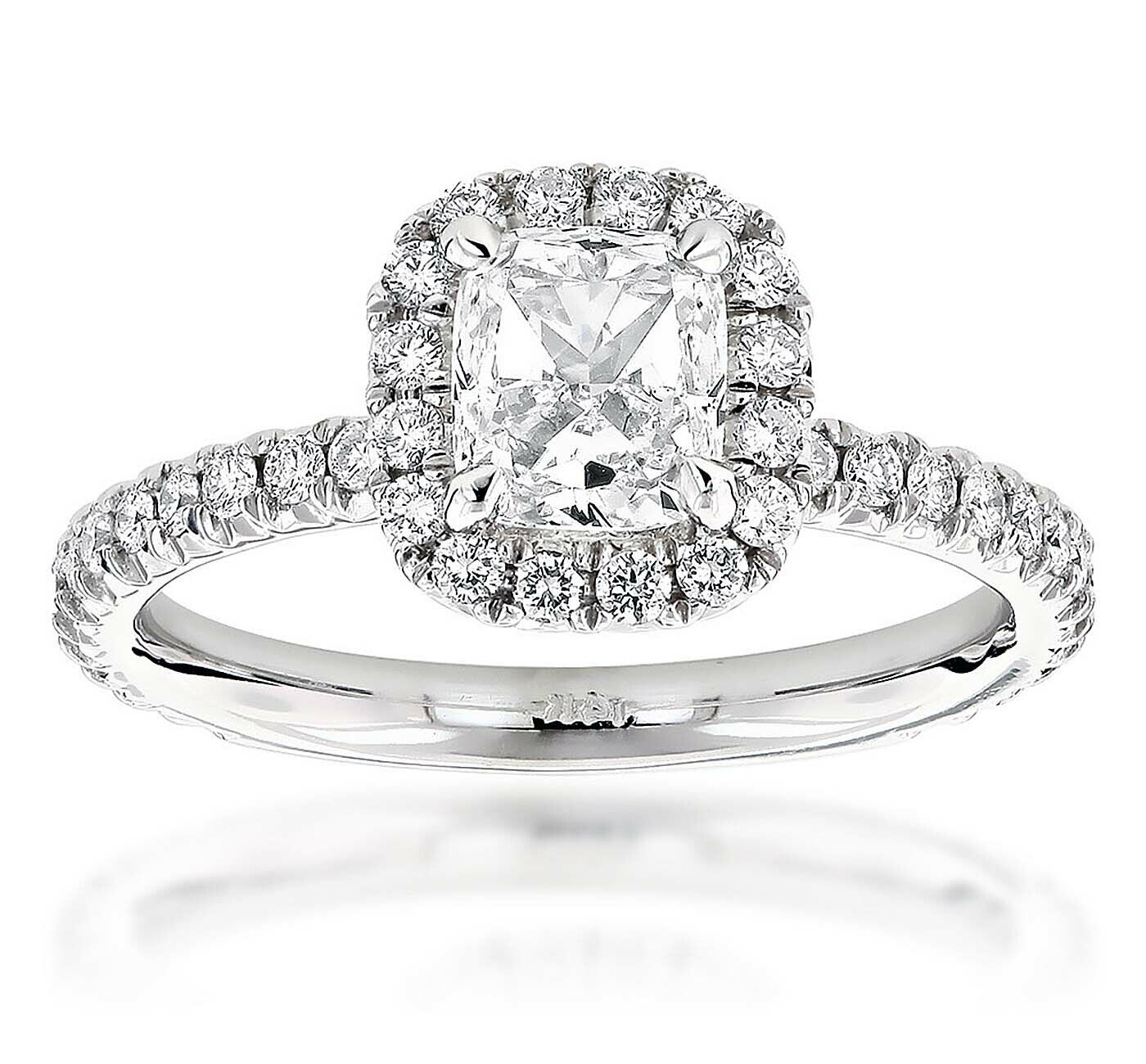 GIA Certified Cushion Cut Diamond Engagement Ring 14k White Gold  0.95 CTW