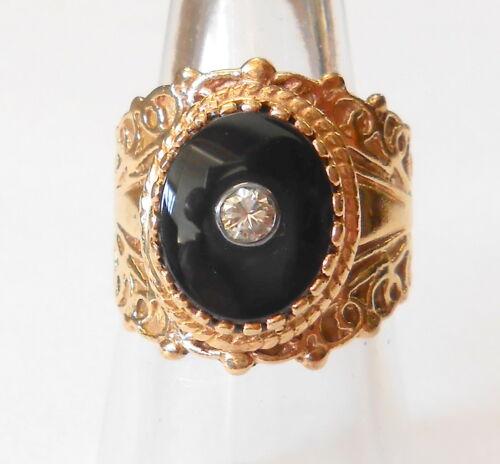 Vintage Etruscan Design 14K Yellow Gold Diamond & Onyx Ladies Wide Ring Size 7