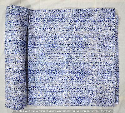 Quilt Kantha Königin indische Baumwolle Hand Block Print Tagesdecke Bettdecke  ()