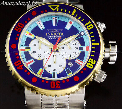Invicta Men 52mm GRAND PRODIVER VD53 Chronograph Blue Dial Stainless Steel Watch