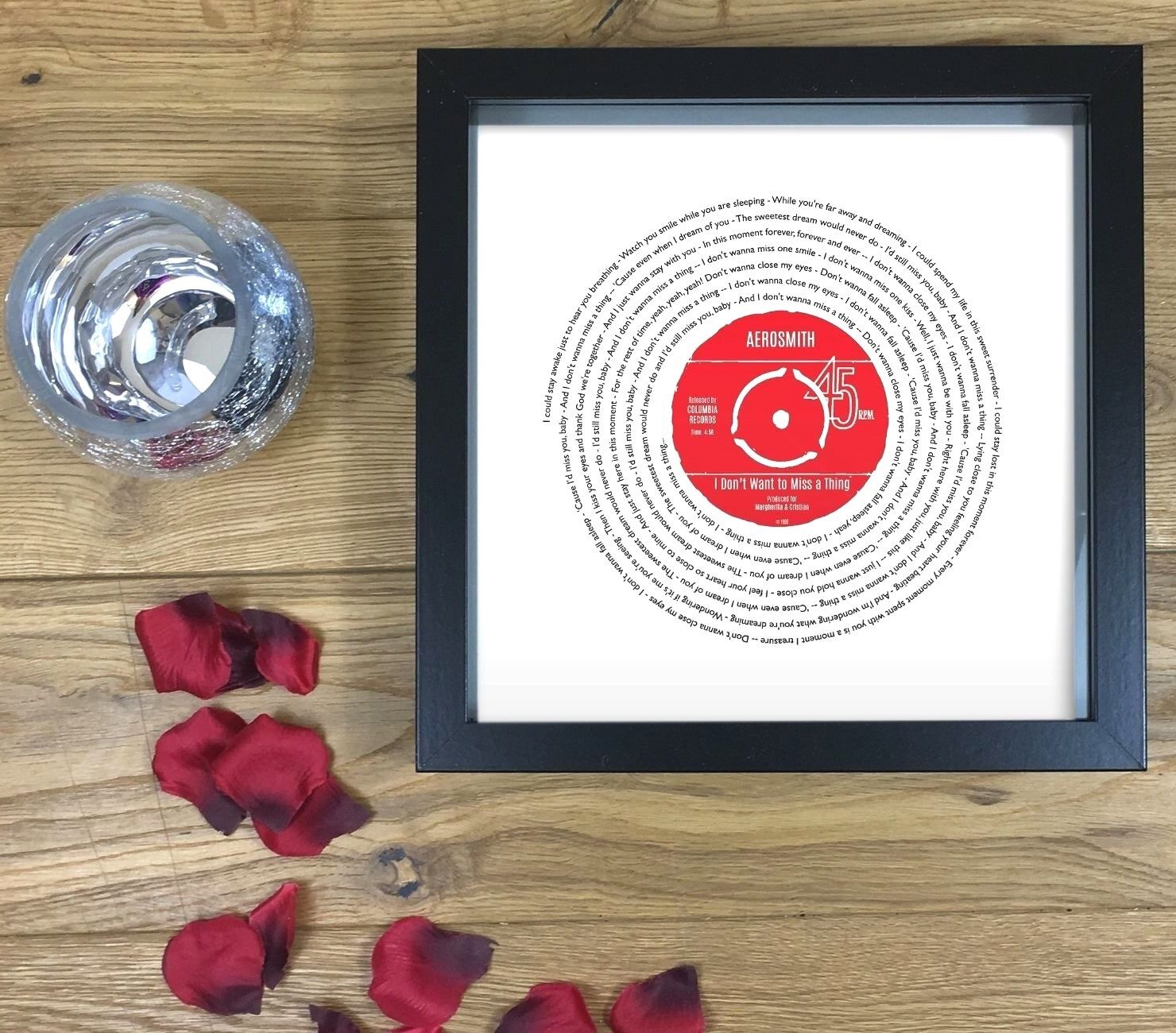 Any Song Lyrics Vinyl Record Print Personalised Valentine/'s Day Gift For Him