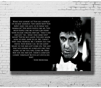 24x36 14x21 Poster Scarface Al Pacino Tony Montana Movie Star Quotes Art P-1001