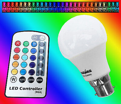 SALE -Remote Control Colour Changing Energy Saving Light Bulb Bayonet Cap BC B22