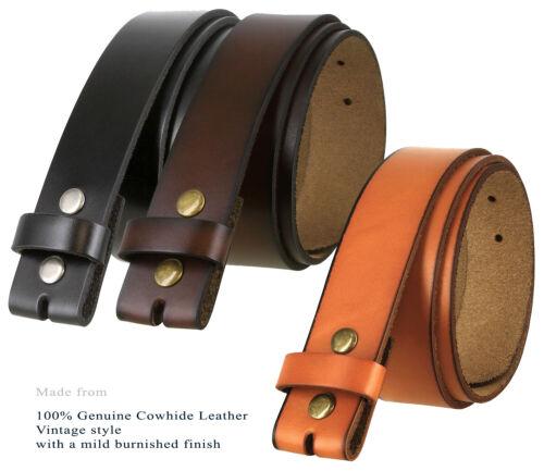 "Genuine Leather Belt Strap Casual Belt Snap 1-1/2"" Wide - Black Brown Tan"