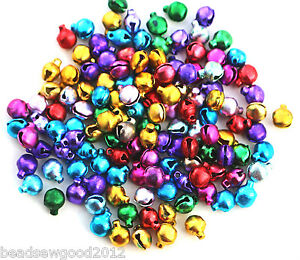 Approx 120 Small Assorted Colour Aluminium CHRISTMAS JINGLE BELLS Charms 6mm