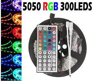5m 10m 15m 20m smd 5050 rgb led strip light 44key ir remote controler kit ip65 ebay. Black Bedroom Furniture Sets. Home Design Ideas