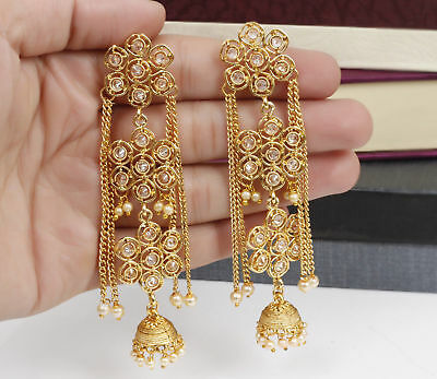 Indian Bollywood Gold Tone Kundan Long Traditional Jhumki Earring Wedding Jewels](Jewel Tone Wedding)