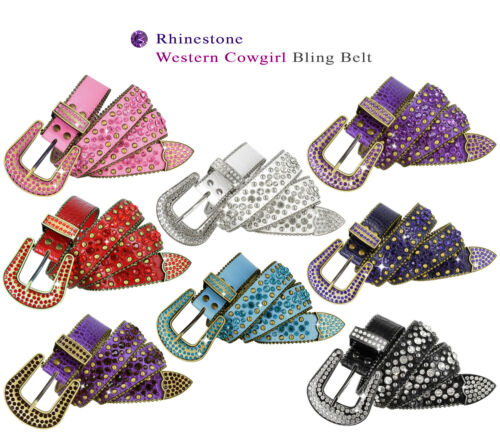 "Rhinestone Belt Western Crystal Bling Studded Leather Belt 1-3/8"" (35mm) Wide"