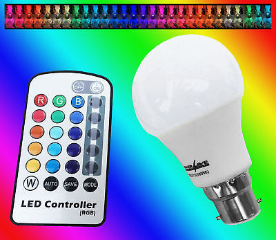 REMOTE CONTROL COLOUR CHANGING DIMMABLE LIGHT BULB BC B22 LED RBG POWERSAVE