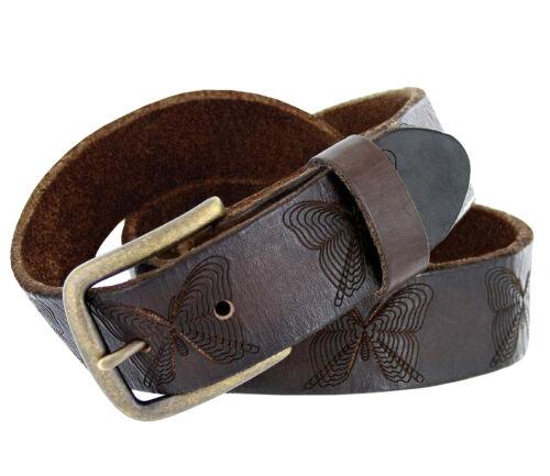 "Vintage Full Grain Tooled Genuine Leather Butterfly Embossed Casual Belt 1-1/2"""