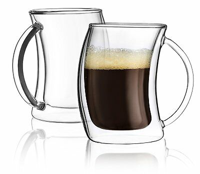 Double Wall Espresso Cup - JoyJolt Caleo Double Wall Insulated Glasses, 2 Ounce Set of 2 Espresso Cups