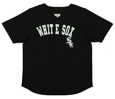 MLB Baseball Boys Youth Chicago White Sox Button Down Jersey Shirt, Black